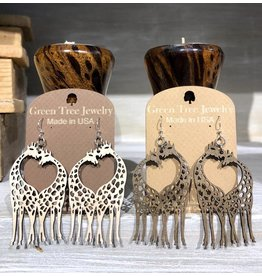 Green Tree Earrings Wood-Giraffe Heart