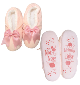 Faceplant Footsies Slippers-Not Now Mommy is Busy Bow