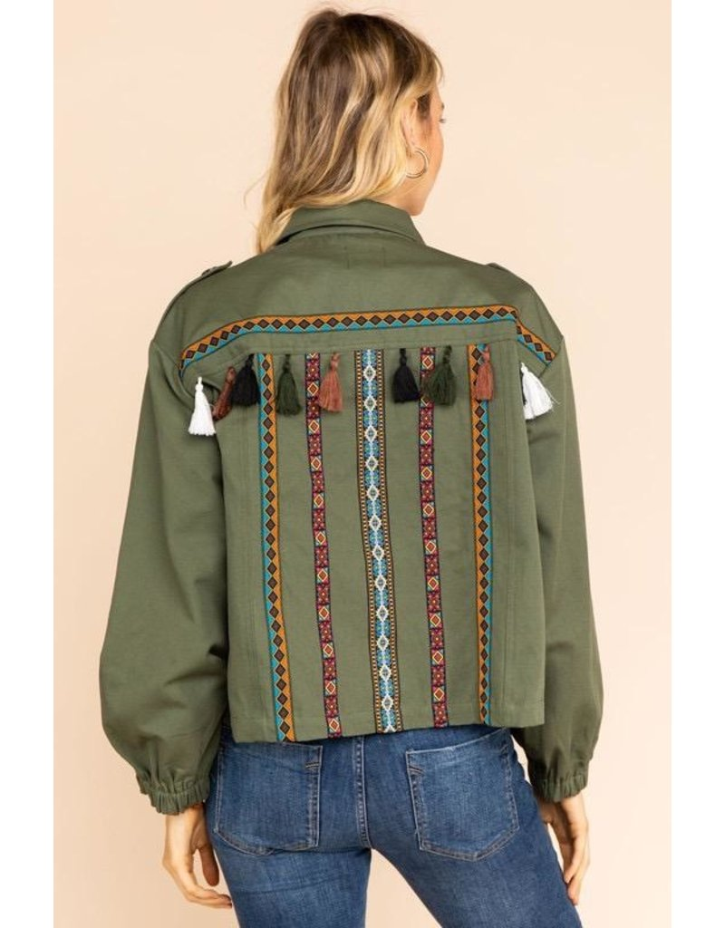 Gilli Clothing Jacket-Utility Style with Tassels & Aztec Trim