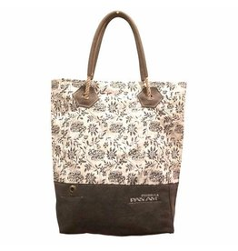 Chloe & Lex Tote-PAN AM Canvas Grey White Floral Print