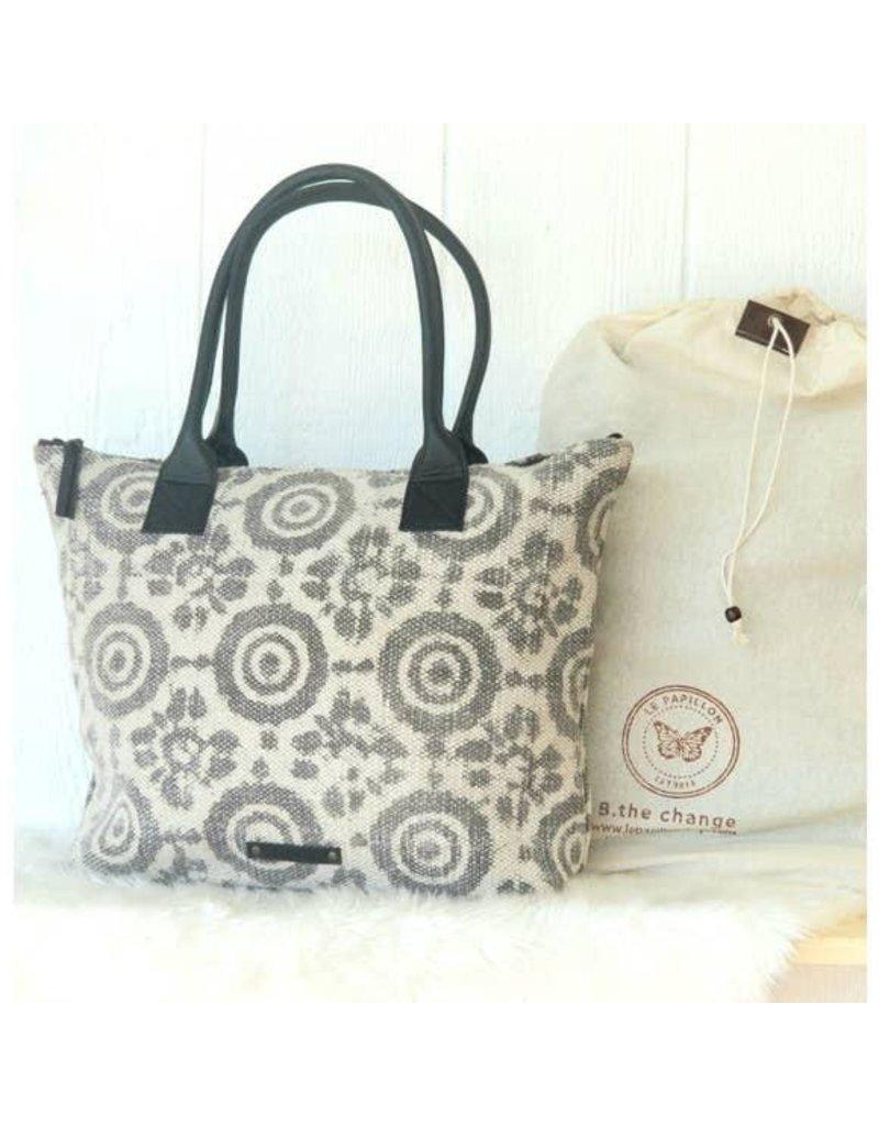 Le Papillon Handbag-Cotton Rug, Ivory & Grey Flower Batik