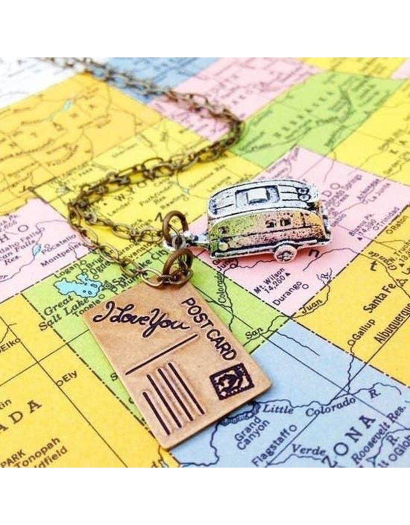 "Red Truck Designs Necklace-Camper, Travel Trailer, Brass 22"""