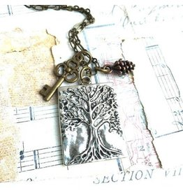Red Truck Designs Necklace-Tree of Life, Pine Cone, Silver 18""