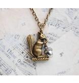 """Red Truck Designs Necklace-Squirrel & Acorn, Brass 22"""""""