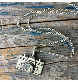 Red Truck Designs Necklace-Vintage Photographer, Camera, Silver 18""