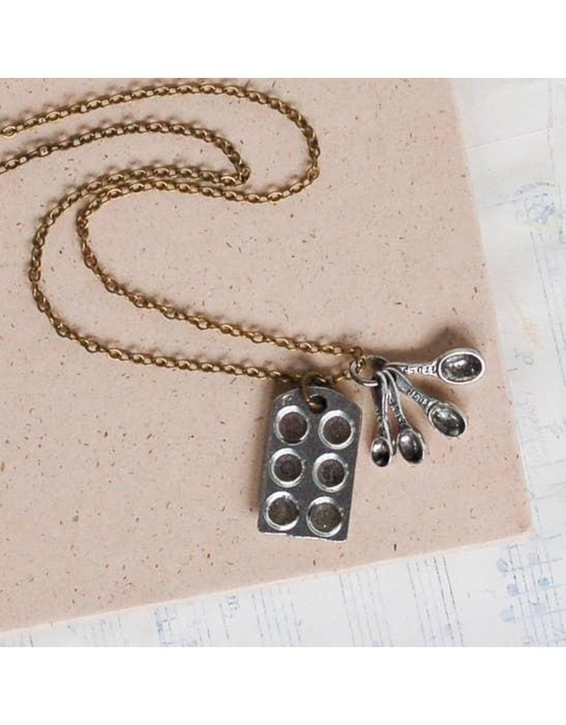 """Red Truck Designs Necklace-Baking, Cupcake, Spoons, Silver Brass 24"""""""