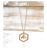 """Red Truck Designs Necklace-Bumblebee Honeycomb, Rose Gold 22"""""""