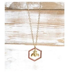 Red Truck Designs Necklace-Bumblebee Honeycomb, Rose Gold 22""