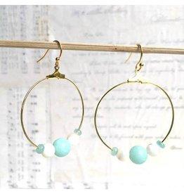 Red Truck Designs Earrings-Hoops, Blue & White Gemstones