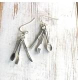 Red Truck Designs Earrings-Fork, Spoon, Knife, Silver