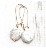 Red Truck Designs Earrings-Pearl Coin Drop