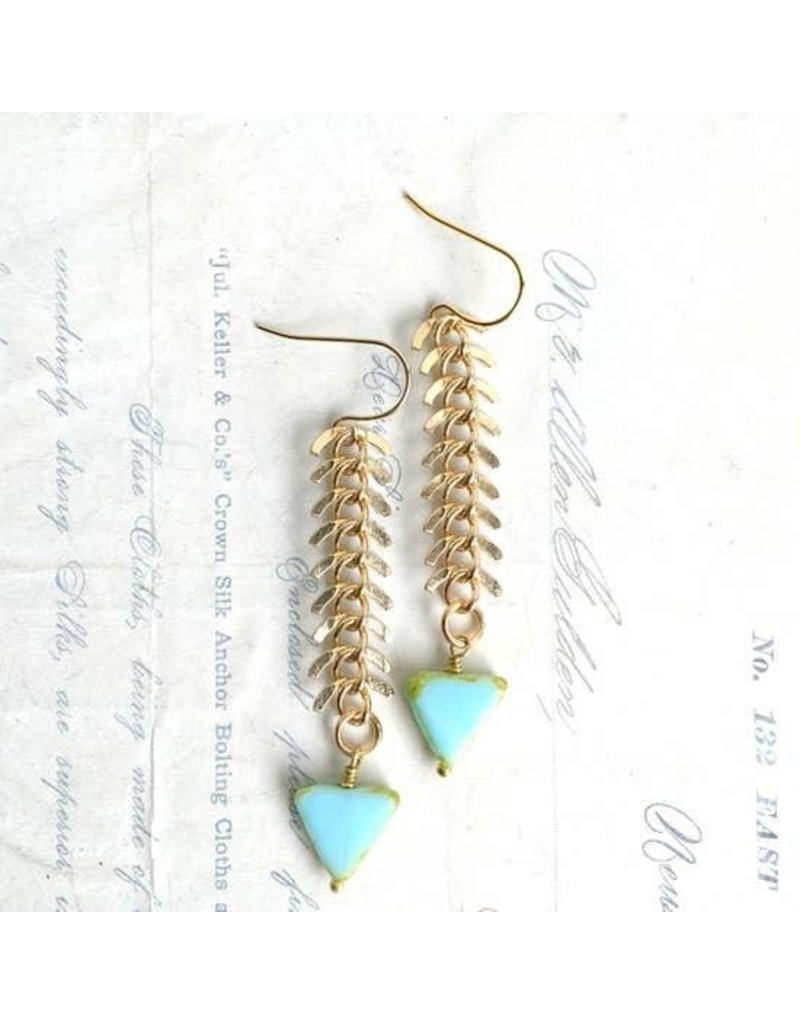 Red Truck Designs Earrings-Arrow Fishbone Chain Drop, Blue