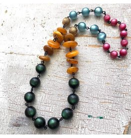 Leetie Lovendale Necklace-Vintage Carmen Moonglow, Green, Amber & Fuchsia 26""