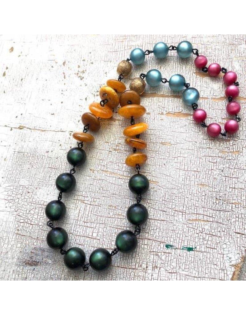 "Leetie Lovendale Necklace-Vintage Carmen Moonglow, Green, Amber & Fuchsia 26"""
