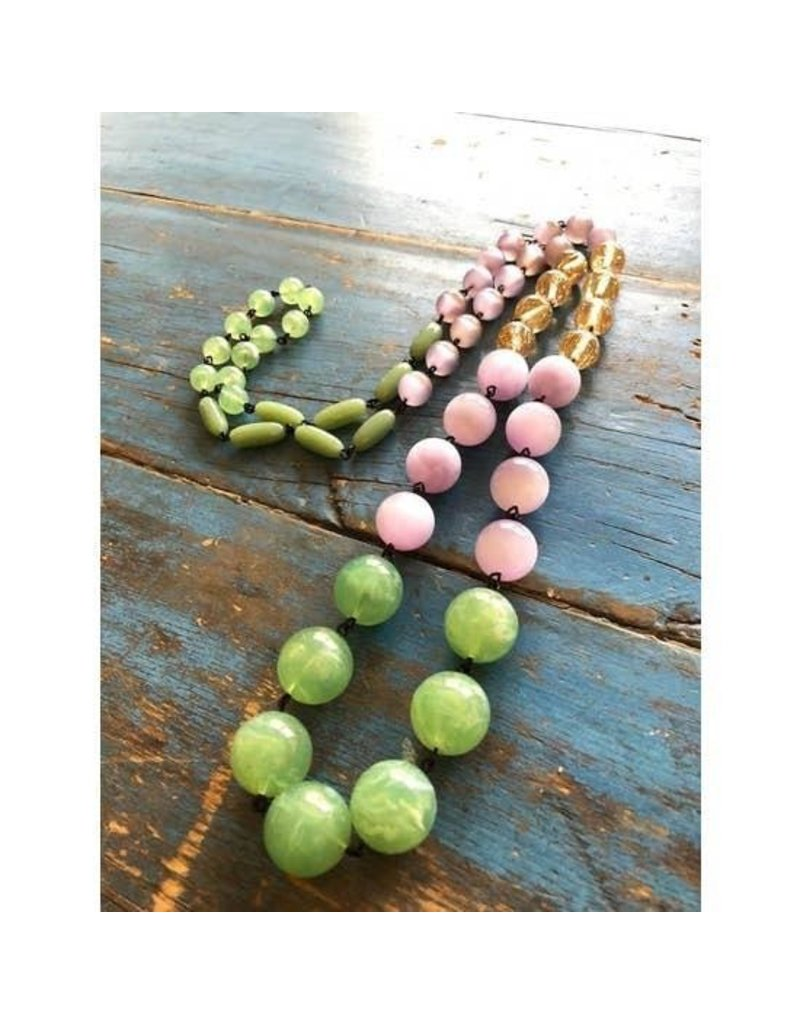 """Leetie Lovendale Necklace-Vintage Chain Rope, Sage Green & Lavender Rosary 41-44"""""""