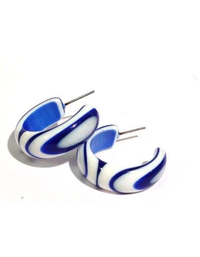 Leetie Lovendale Earrings-Striped Hoops, Cobalt Blue