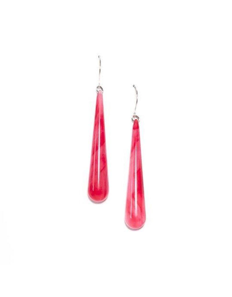 Leetie Lovendale Earrings-Long Teardrop, Marbled Fuchsia Red