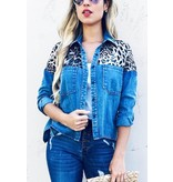 And The Why Jacket Shirt-Leopard Print & Denim