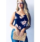 And The Why Top-Tank Cami Top, Loose V-Neck Floral Print