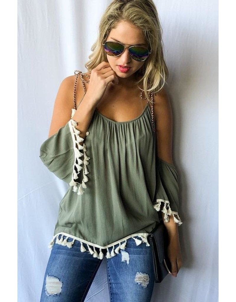 And The Why Top-Open Tied Shoulder, Tassel Trim