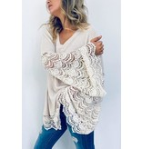 And The Why Top-Wide Bell Sleeves, Textured Knit & Lace Trim