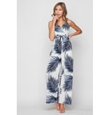 Fashion District LA Jumpsuit-Tropical Leaves, Palazzo, Surplice Cami