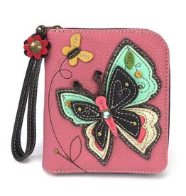 Chala Bags Wallet-Zip Around-New Pink Butterfly