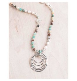 "Bali Queen Necklace-Amazonite Pearl Lady of the Rings (36"")"