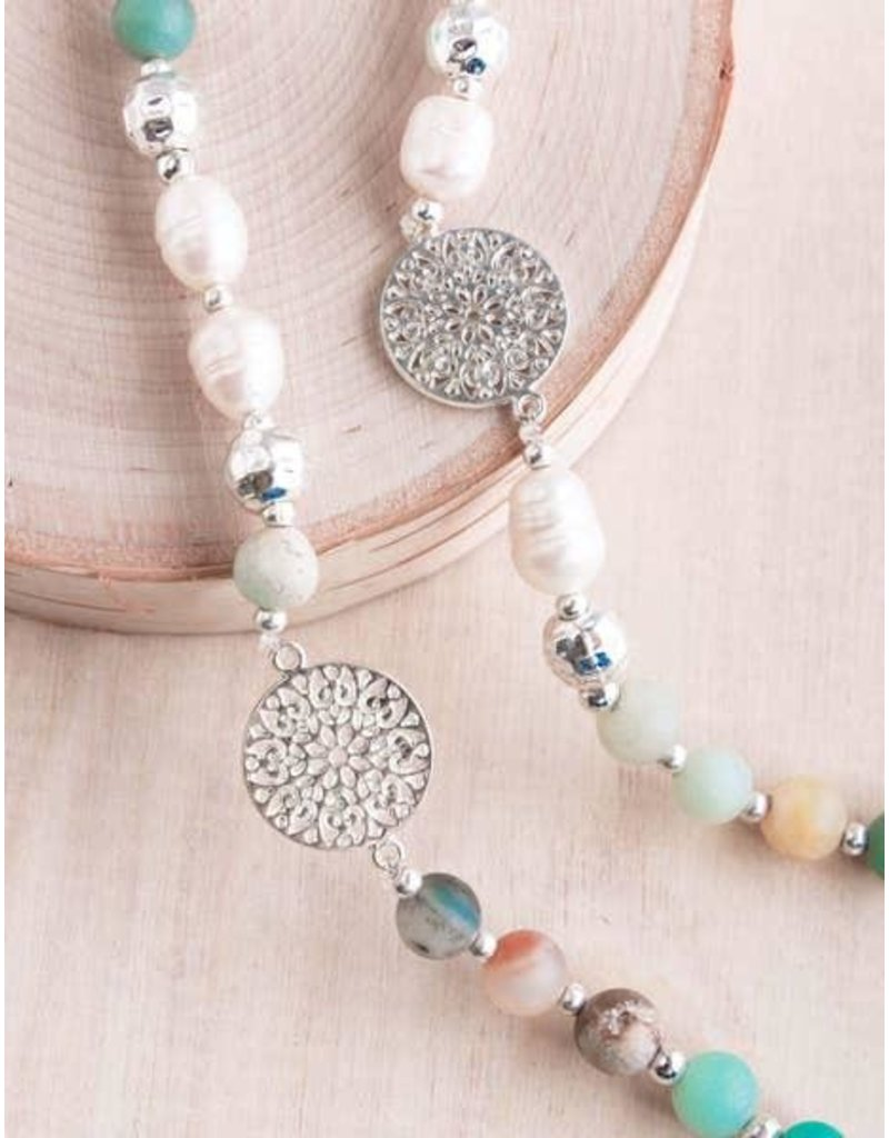 """Bali Queen Necklace-Amazonite Pearl Lady of the Rings (36"""")"""
