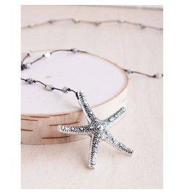 "Bali Queen Necklace-Silver Bumpy Starfish, Silver (40"")"