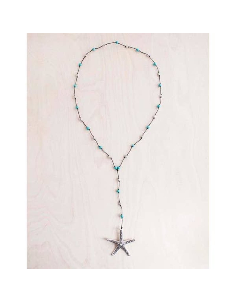 """Bali Queen Necklace-Silver Bumpy Starfish, Turquoise (40"""")"""