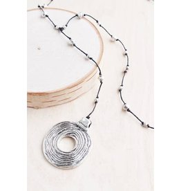 "Bali Queen Necklace-Silver Etched Disc Alloy (40"")"