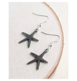 "Bali Queen Earrings-Silver Alloy Starfish (1"")"