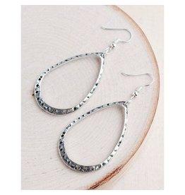 """Bali Queen Earrings-Silver Teardrop Hoop (2""""x1"""")"""