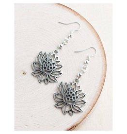 "Bali Queen Earrings-Silver Lotus (1"")"