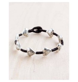 "Bali Queen Bracelet-Silver Etched Hearts Alloy (7"")"