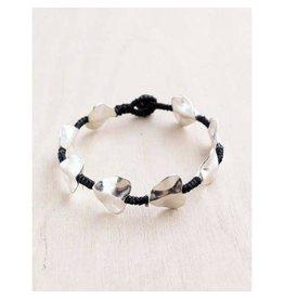"""Bali Queen Bracelet-Silver Wavy Hearts Alloy (7"""")"""
