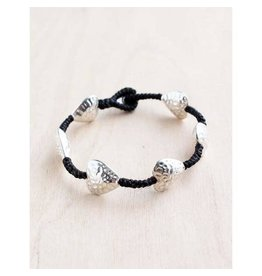 "Bali Queen Bracelet-Silver Hammered Hearts Alloy (7"")"