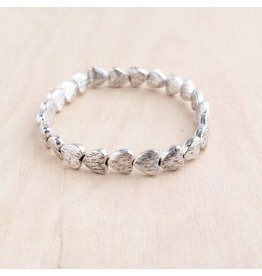 "Bali Queen Bracelet-Silver Stretchy Brushed Hearts (7"")"