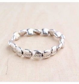 "Bali Queen Bracelet-Silver Stretchy Square Big Love (7"")"