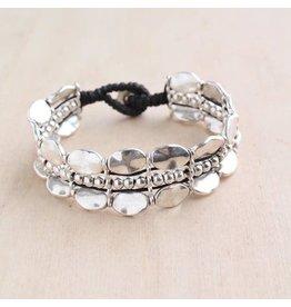 """Bali Queen Bracelet-Triple Strand, Silver Oval Alloy (7"""")"""