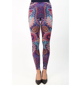 Leggings-Full Leg, Mandala Flowers Pink, Purple (One Size)