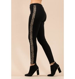 Leggings-Snake Gold & Silver Striped Side
