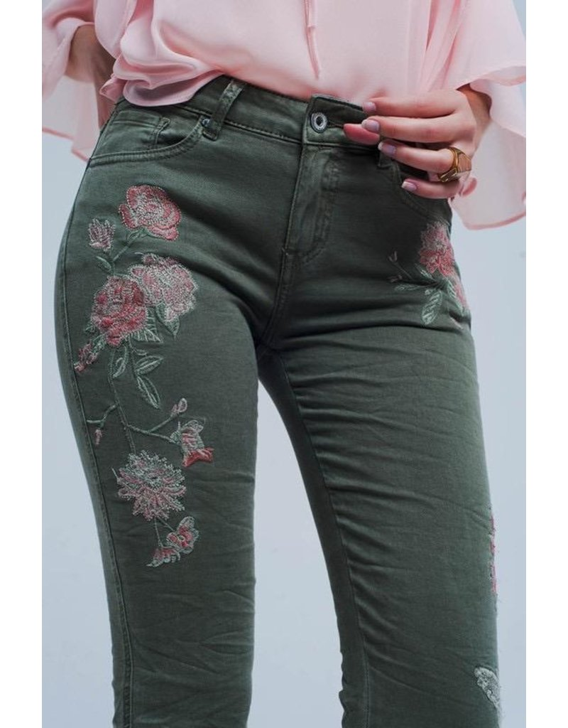 Q2 Clothing Jeans-Khaki with Emb Flowers