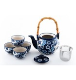 Tea Set-Porcelain 'Mira Flower Design' (6pc)