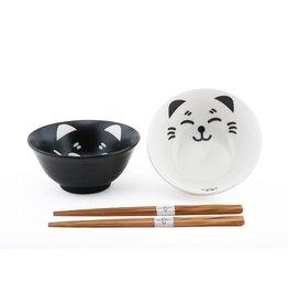 Rice Bowls (4pc Set) w/Chopsticks-Black & White Cats