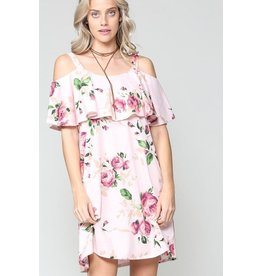 KyeMi Dress-Cold Shoulder, Floral Flounce