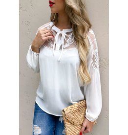 And The Why Top-Long Sleeve Blouse, Floral Lace Emb