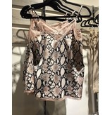 And The Why Top-Camisole, Lace, Snake Skin Print