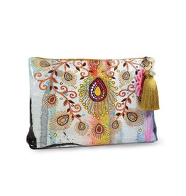 Papaya Art Pouch, Large Tassel - MOROCCAN PEACOCK